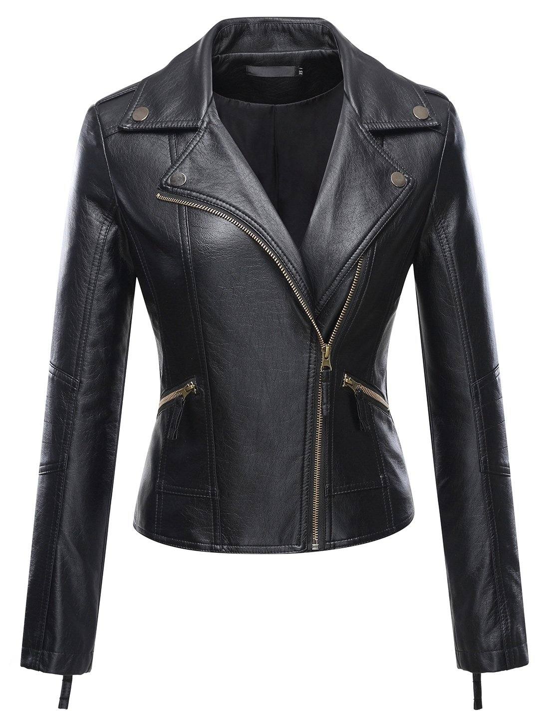 Uaneo Women's Classic Style Moto Faux Leater Jacket Outerwear (Medium, Black)