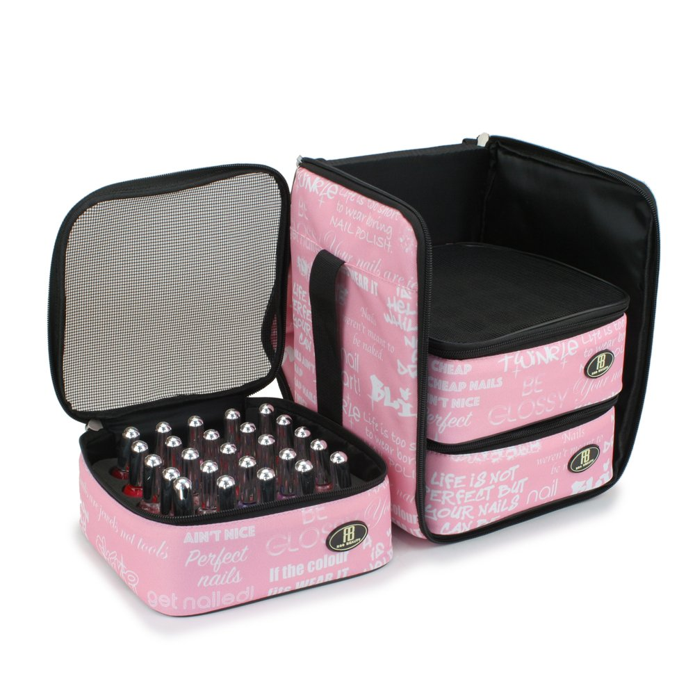 Roo Beauty Nail Polish Varnish Cube, Manicure Storage Bag, Makeup Cosmetic Case in Pink Libretto Roo Beauty Ltd