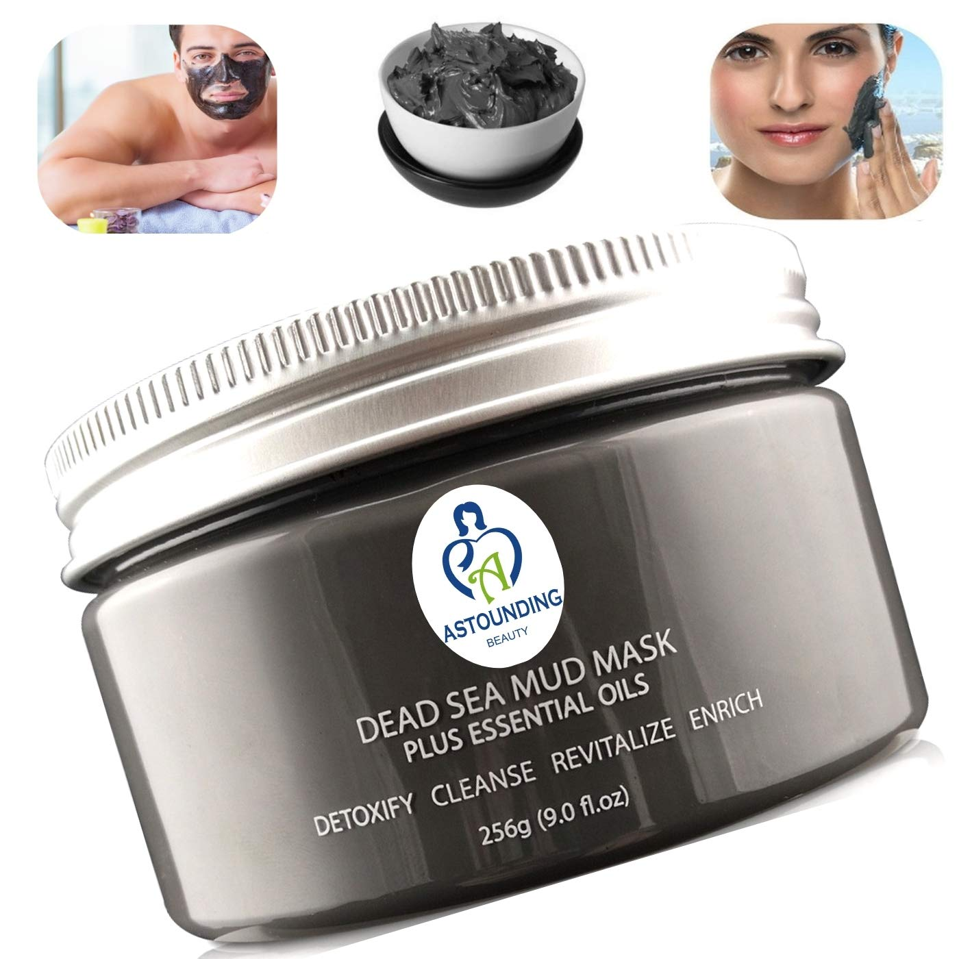 MOST AMAZING RESULTS Dead Sea Mud Mask+Essential Oils-9 oz-100% Natural Facial Body Skin Spa Treatment|Detox Cleanse Exfoliate Face|Reduce Minimizer Acne Pore Wrinkles Scar|Blackhead Remover Extractor Astounding Beauty Products