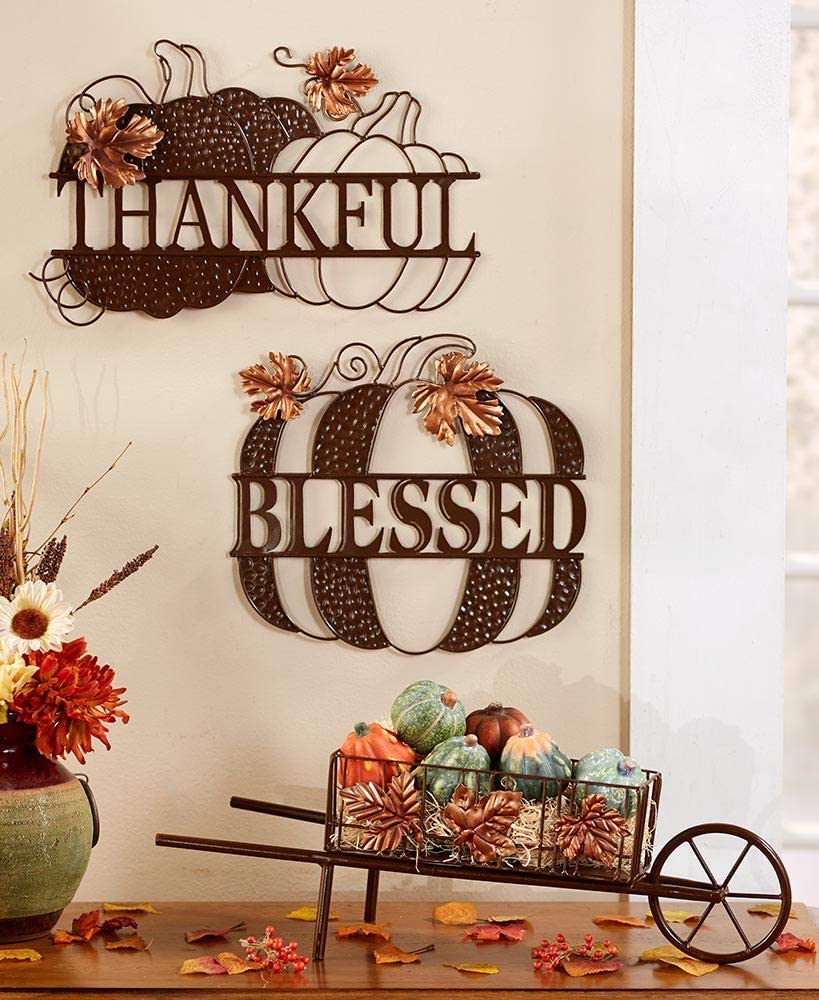 Fall Decor For Home Harvest Pumpkin Leaves Set of 2 Metal Wall Hangings Blessed & Thankful