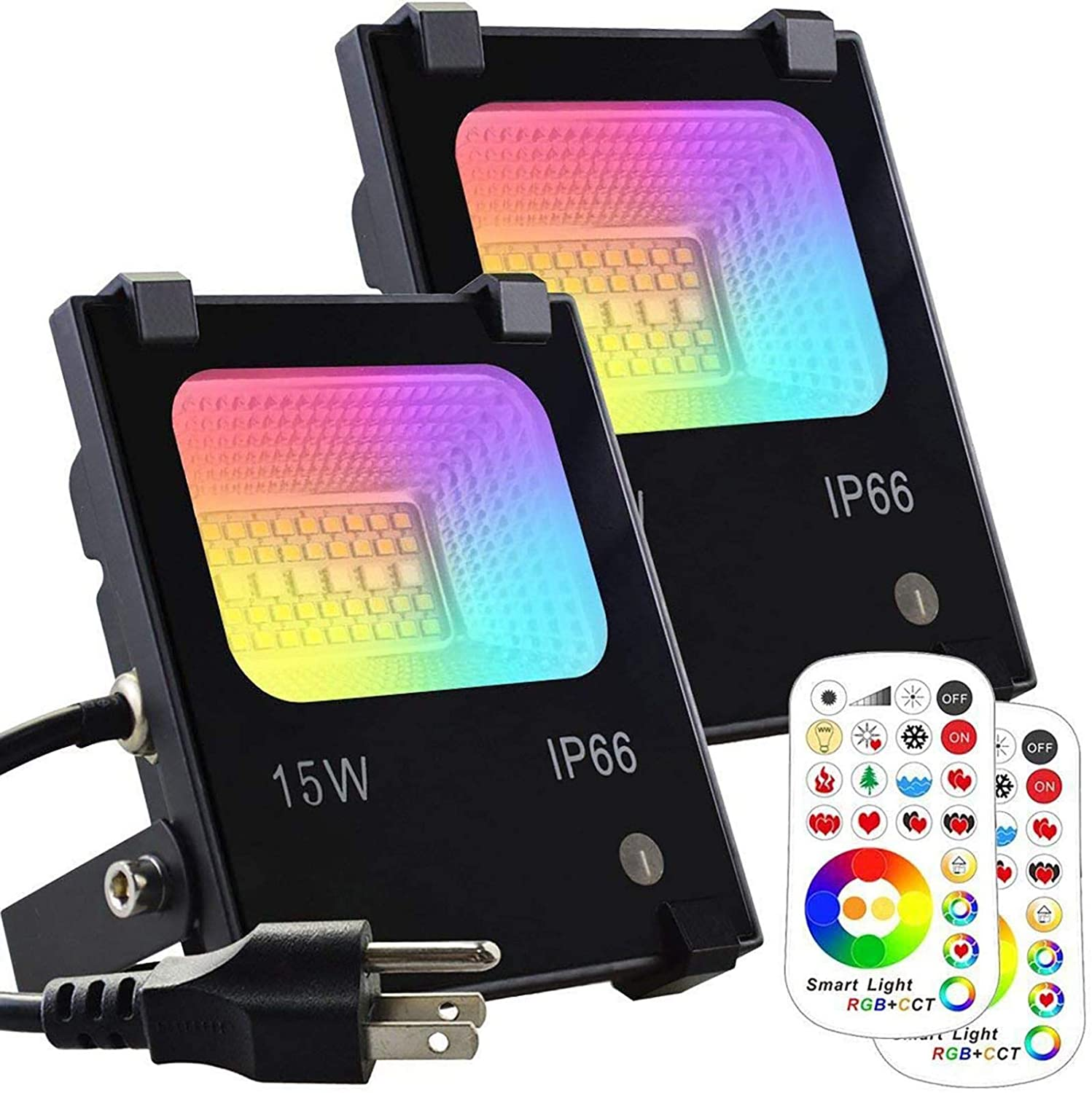 MELPO 15W LED Flood Light Outdoor, Color Changing RGB Floodlight with Remote, 120 RGB Colors, Warm White to Daylight Tunable, IP66 Waterproof, US 3-Plug (2 Pack): Home & Kitchen