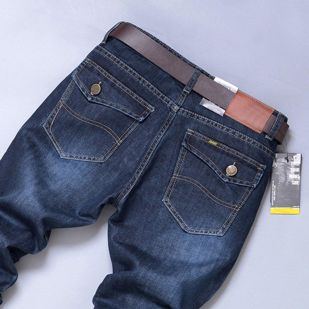 Hunzed Men【Casual Straight Jeans】 Men Autumn Denim Cotton Hip Hop Loose Work Long Trousers Jeans Pants