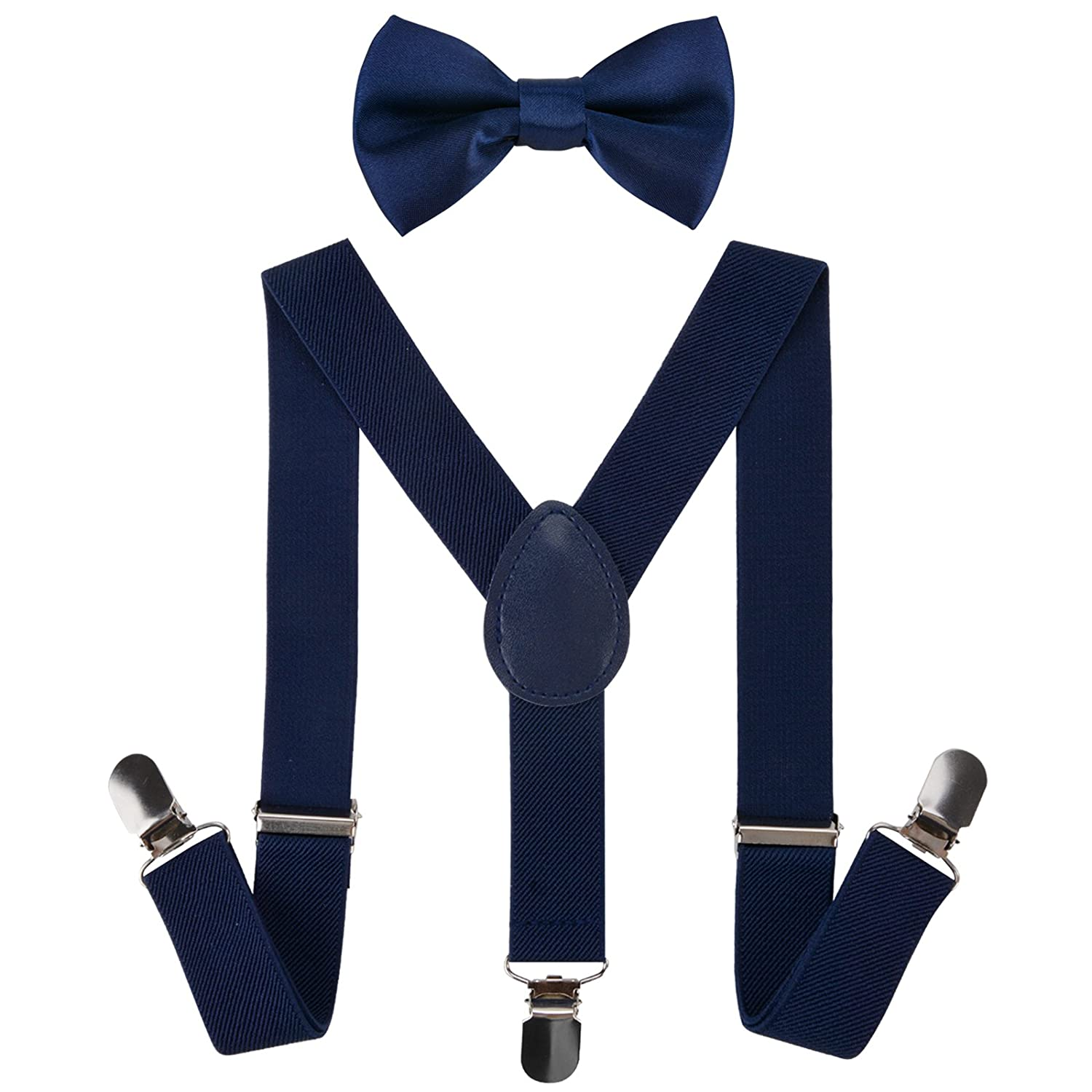 Boys Suspender, Aniwon Metal Clip Y Back Adjustable Elastic Suspenders Bow Tie