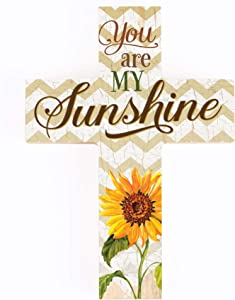 P. Graham Dunn You are My Sunshine Sunflower Chevron 7 x 5 Wood Wall Art Cross Plaque