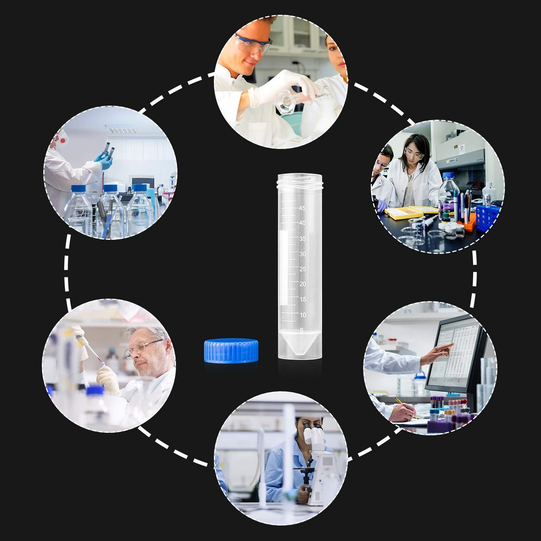 Starvast Lot de 50 tubes en plastique pour centrifugeuse avec bouchon /à visser Transparent 50 ml