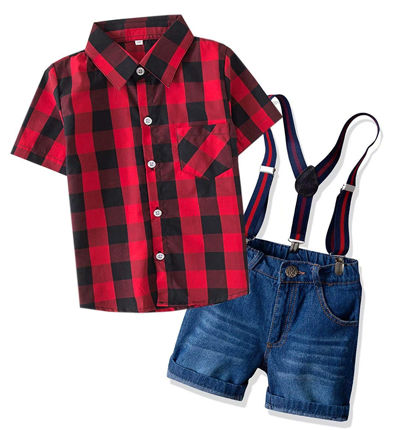 Boys Dress Clothes, Short Sleeves Button Down Plaid Dress Shirt + Suspender Denim Jeans Shorts Set Summer Outfit 2 Pieces Clothing, Red Black, 18-24 Months = Tag 90