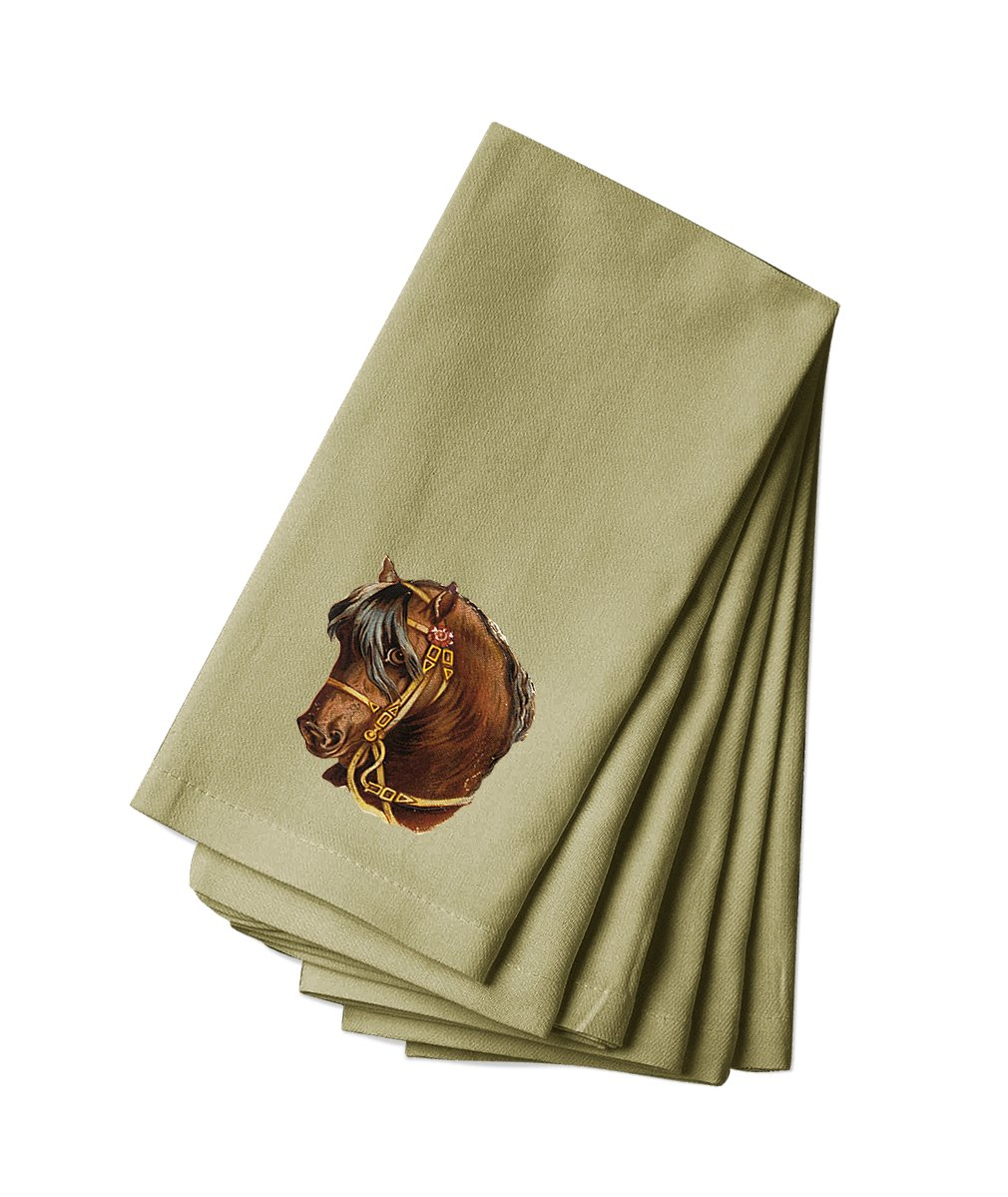 Style in Print Canvas Napkin Set Of 4 Brown Horse And Black Mane Pets Animals By by Style in Print
