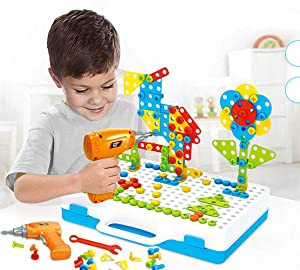 Kunmark Building Block Games Set with Toy Drill & Screwdriver Tool Set | Educational Building Blocks Construction Games| Develop Fine Motor Skills - Best Kids Toys for Boys & Girls