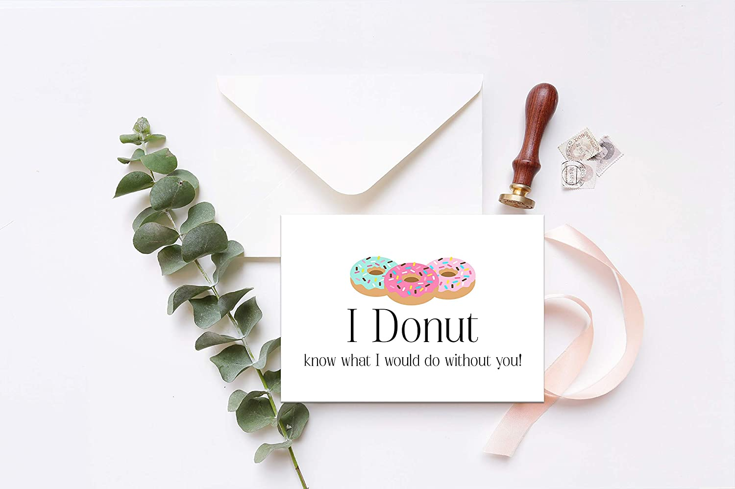 Card for friend I donut know what I would do without you Donut Card Thank you card Wedding thank you card Card for bridesmaid 4.5x5 card with choice of envelope color