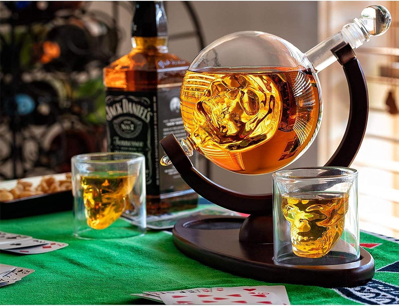 Fndjfjf Juego De Decantador De Whisky Skull con 2 Vasos De ...