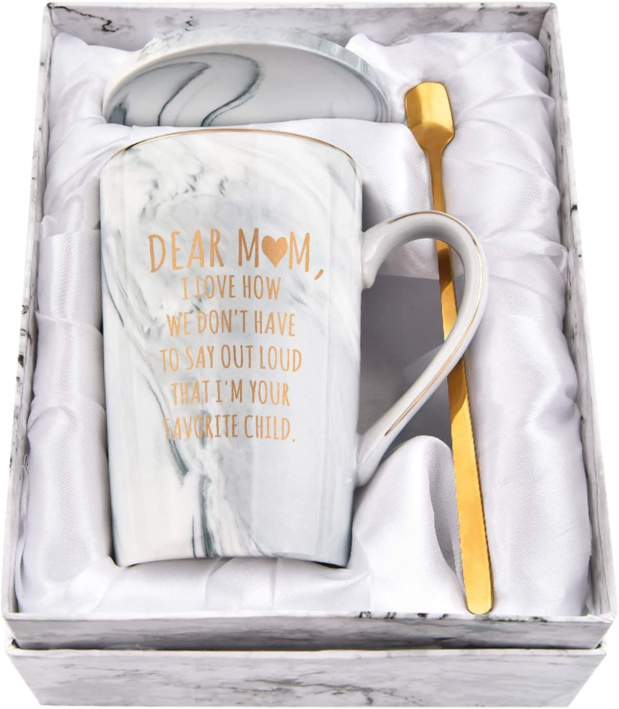 Favorite Child Mug Dear Mom I Love How We Don't Have to Say It Mom Coffee Mugs Best Gift for Mother's Day Birthday Thanksgiving Novelty Marble Cups with Box Spoon Coaster 14 Oz(Gray)