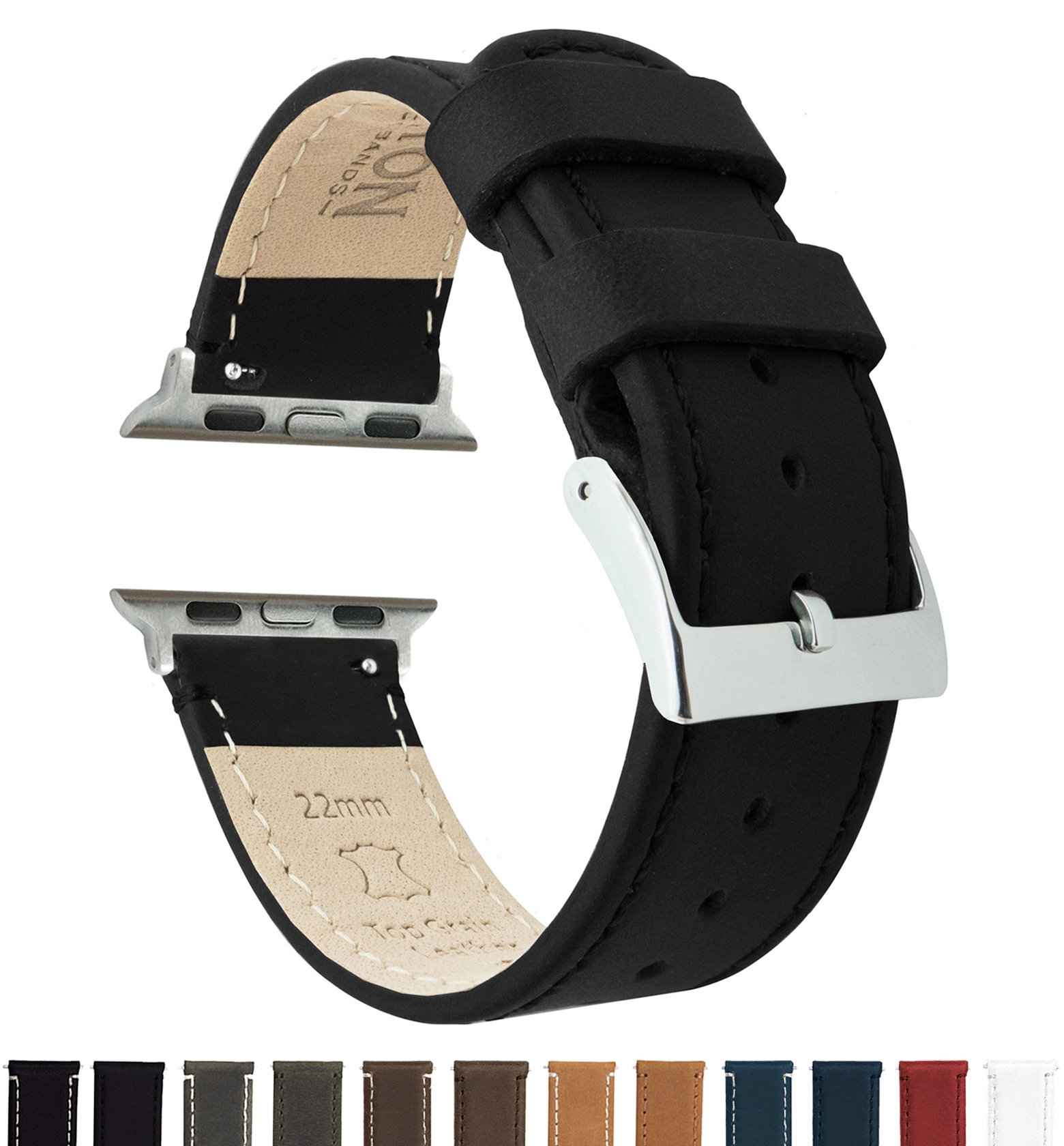 BARTON Leather Watch Bands for Apple Watch - Choice of Color in 42mm & 38mm -Black Leather & Stitching