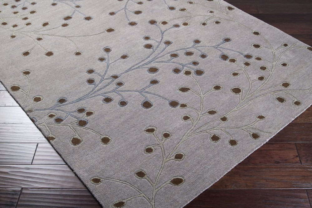 Surya Athena ATH-5055 Transitional Hand Tufted 100% Wool Flint Gray 2'6'' x 8' Floral Runner