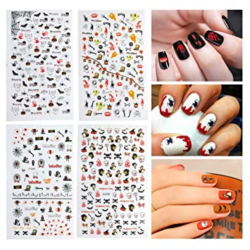 Amazon Dadii Halloween Nail Art Stickers 4 Sheets Self Adhesive