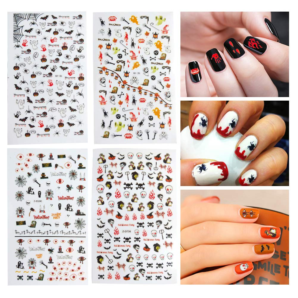 Dadii Halloween Nail Art Stickers 4 Sheets Self-adhesive Nail Tattoo Decals Sticker Wraps with Halloween Designs