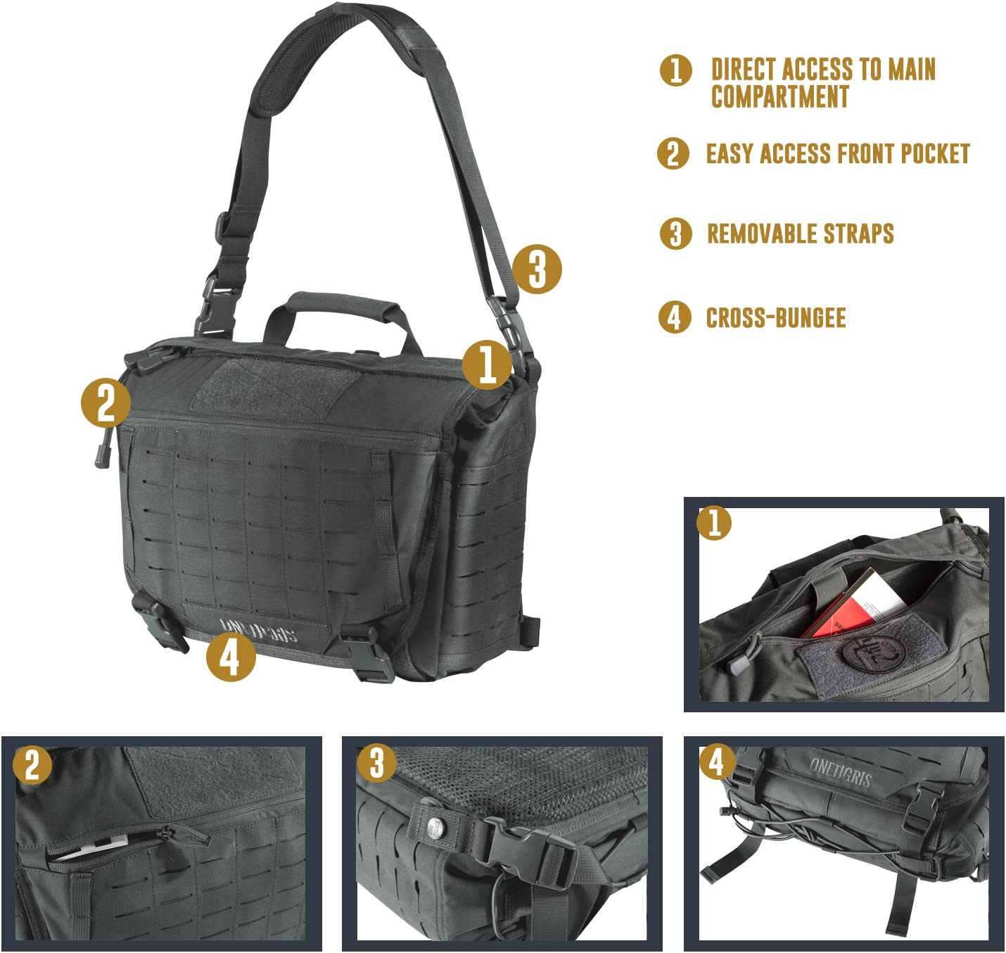 Schatten Grau OneTigris Umh/ängetasche Taktische Molle Schultertasche Kompakte Kuriertasche Messenger Bag mit Schultergurt