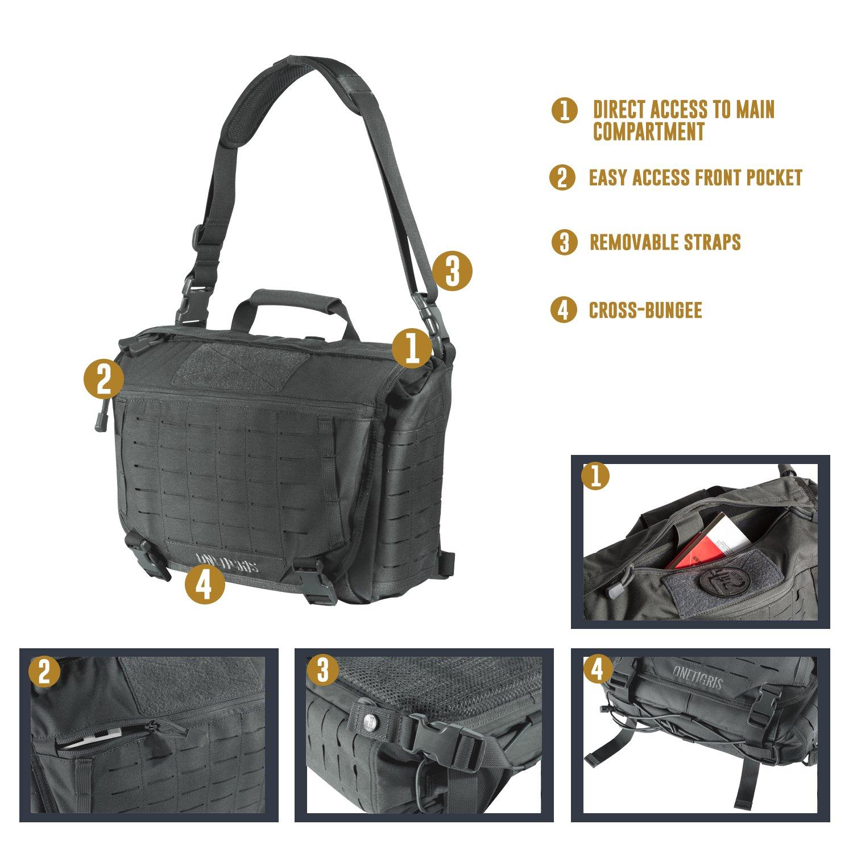 OneTigris HU Tactical Messenger Bag Laser-Cut MOLLE Laptop Shoulder Bag