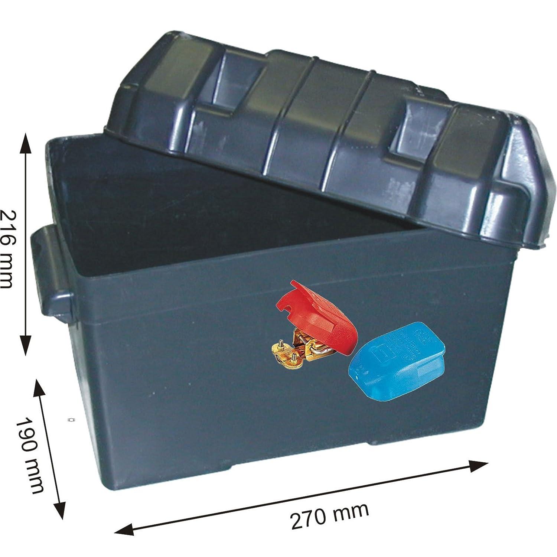 Batteriekasten mit Befestigungsgurt 270 x 190 x 216 mm /für Batterien 205 x 135 x 150 mm + 2 Stk. Batterieklemmen bootsshop in Bad Ischl