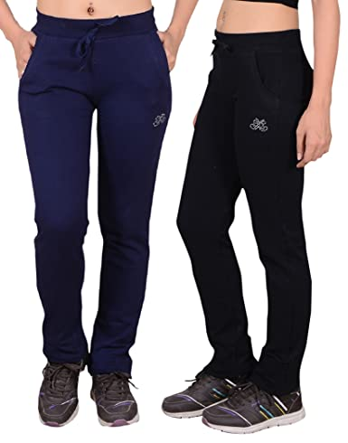 SWEEKASH Women's Cotton Track Pant Combo (Pack of 2) Women's Sports Trousers at amazon