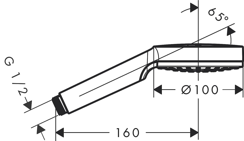 Hansgrohe 26330400 Crometta Vario ducha de mano 2 tipos de chorro blanco//cromo