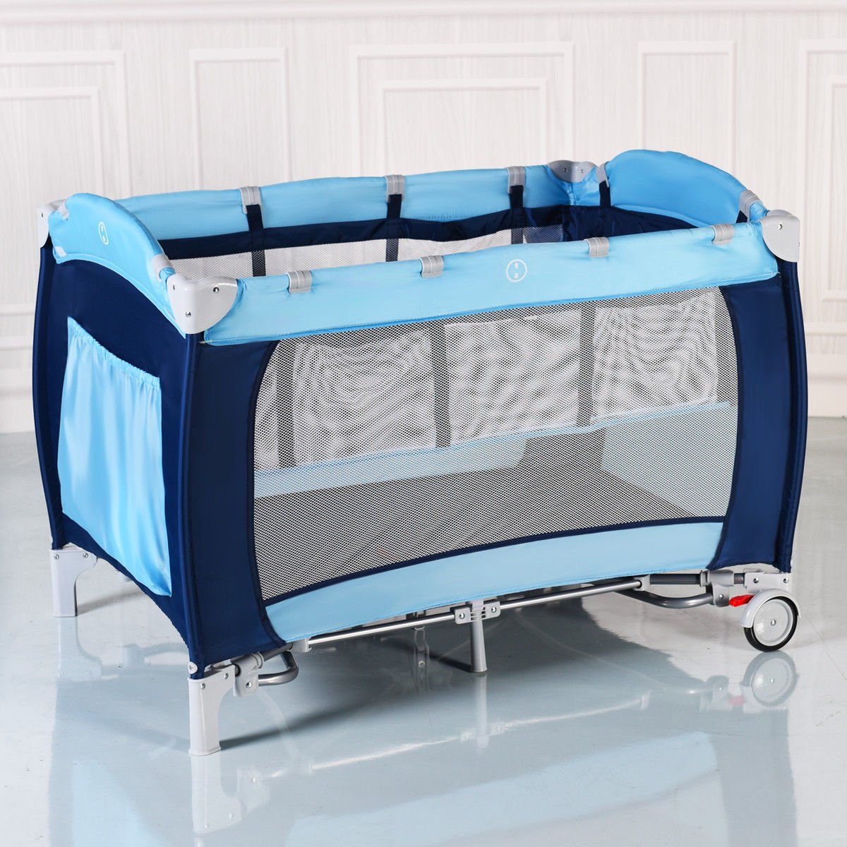 New Foldable Baby Crib Playpen Travel Infant Bassinet Bed Mosquito Net Music w Bag by Costway (Image #3)