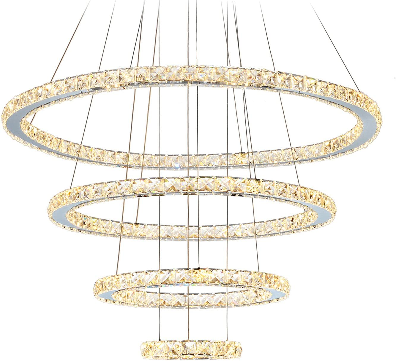 MEEROSEE LED Crystal Chandeliers Modern Ceiling Lights Light Fixtures Pendant Lighting Dining Room Chandelier Contemporary Adjustable Stainless Steel Cable 4 Rings DIY Design D31.5 23.6 15.7 7.8