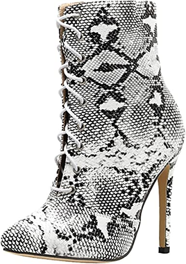 Tsmile Women Snake Skin Boots Lace Up
