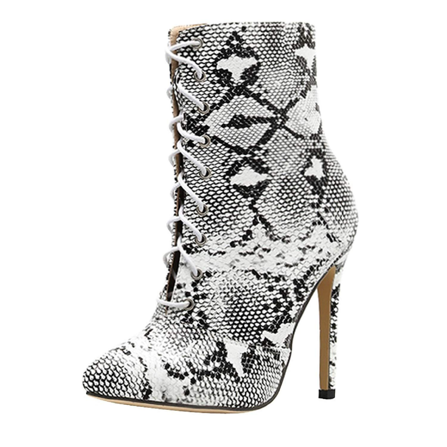 Tsmile Women Snake Skin Boots Lace Up Thin High Heel Printed Pointy Toe Pull On Stiletto Ankle Booties White by Tsmile Winter