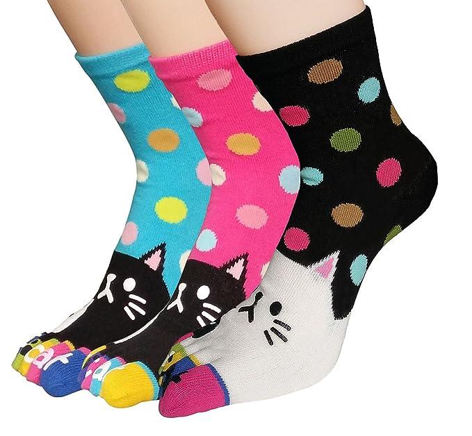 Urban GoCo Mujeres Calcetines de Algodón Transpirable de 5 Dedos de pies Calcetines Caricatura Antideslizantes para