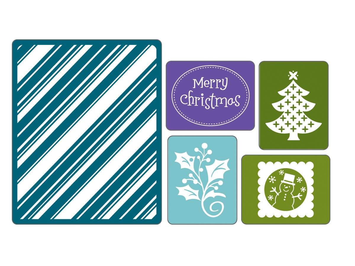 Sizzix Textured Impressions 5-Pack Embossing Folders: Christmas #4 by Sizzix