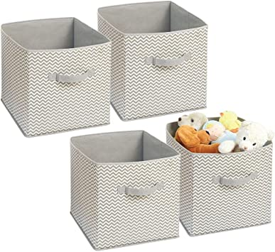 mDesign Soft Fabric Closet Storage Organizer Bin Box - Front Handle, for  Cube Furniture Shelving Units Bedroom, Nursery, Toy Room - Chevron Zig-Zag  ...