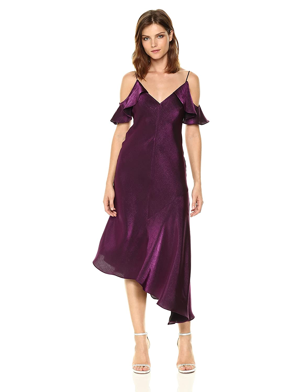 Amethyst women Morgan Womens Shimmer Slip Dress with Cold Shoulder Ruffle Dress