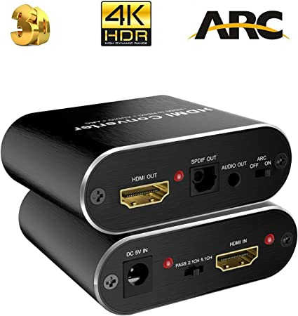 4K@60HZ RGB 4:4:4 Optical SPDIF Metal Black 3.5mm AUX Stereo Audio Out HDMI Audio Converter HDMI to HDMI HDCP 2.2 NEWCARE HDMI 2.0b Audio Extractor 4K HDMI Audio Adapter Support HDMI 2.0b