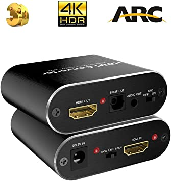 Optical Toslink SPDIF Audio and 3.5MM AUX Stereo Audio Out Anbear 4K HDMI to HDMI HDMI Audio Extractor Splitter Adapter Support 4K@60Hz Full HD and 3D