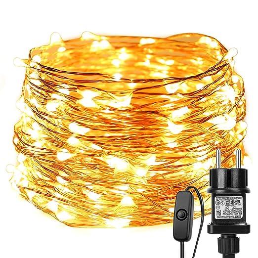 Led Weihnachtsbeleuchtung Warmweiss.Le 20m Led Lichterkette Drahtlichterketten 200 Leds Wasserdicht Ip65 Strombetrieben Mit Schalter Warmweiß Ideal Für Weihnachtsbeleuchtung