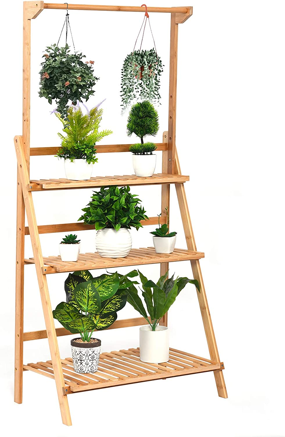 3 Tier Bamboo Hanging Plant Stand, Foldable Planter Display Rack, Flower Pot Organizer Storage Shelves for Indoor Outdoor Home Patio Lawn Garden Balcony