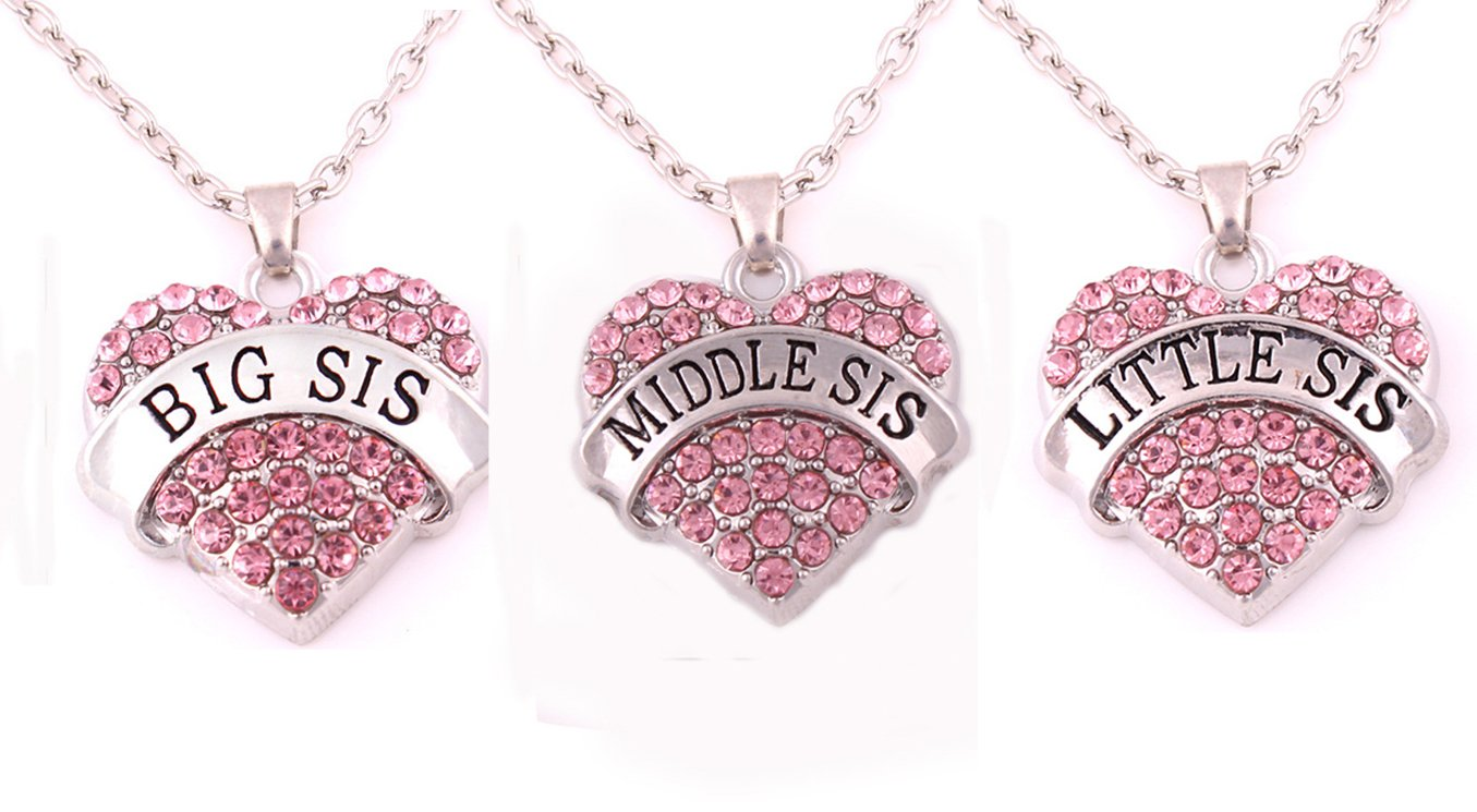 Charm.L Grace Crystal Heart Necklaces Set Mom Big Sis Middle Lil Sister