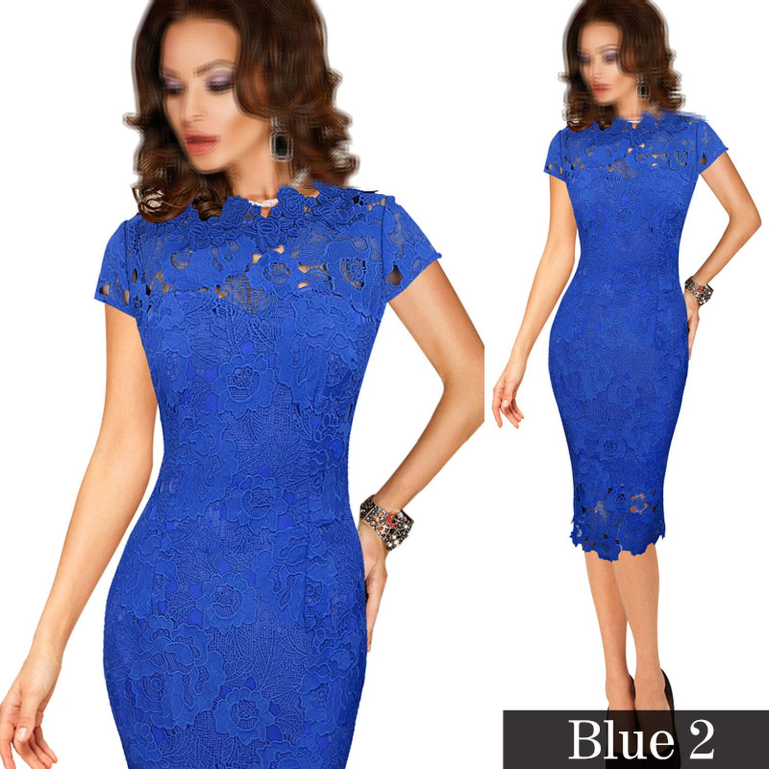 bluee 2 TheUniqueHouse Womens Elegant Sexy Crochet Dress Hollow Out Pinup Party Special Occasion Sheath Fitted Vestido