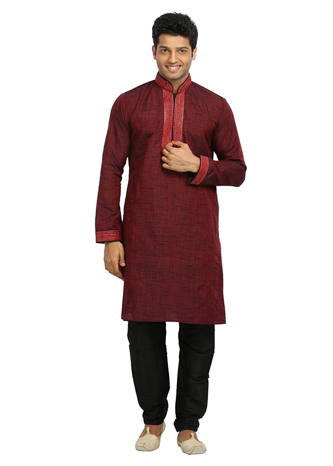 Saris and Things Maroon Indian Wedding Kurta Pajama for Men RK4070SNT-P