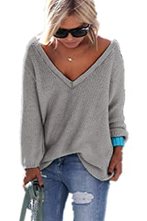 YACOPO Damen Herbst und Winter Arbeiten lose mit Langen Ärmeln V-Ausschnitt-PulloverSexy  Pullover c122ee7a25