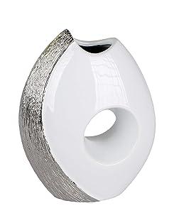 formano Vase décoratif Fleurs en vase de table en céramique Blanc/argenté 15x 19cm