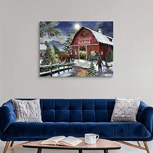 The Christmas Barn Canvas Wall Art Print