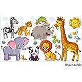 1b9bded5b4 nikima - 080 Wandtattoo Tiere Kinderzimmer Elefant Löwe Giraffe - in 6  Größen - niedliche Kinderzimmer