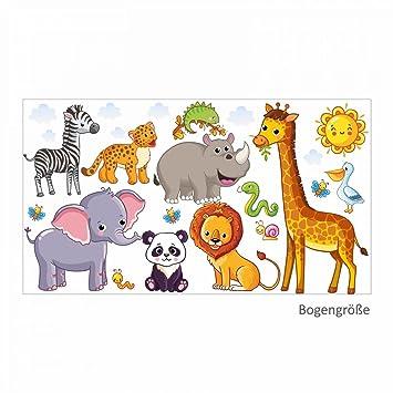 Kinderzimmer Sticker   Nikima 080 Wandtattoo Tiere Kinderzimmer Elefant Lowe Giraffe In