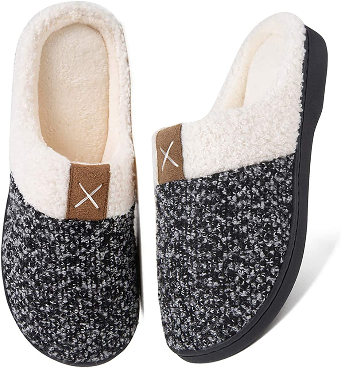 Women's Memory Foam House Slippers Comfort Wool-Like Plush Fleece Lined House Shoes for Indoor & Outdoor