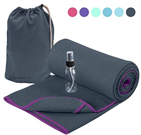 Heathyoga Non Slip Yoga Towel, Exclusive Corner Pockets Design, Microfiber and Silicone Coating Layer, Free Carry Bag and Spray Bottle, Perfect for ...