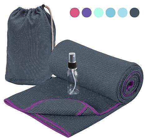 Image result for HeathYoga Non-Slip Yoga Towel, Exclusive Corner Pockets Design
