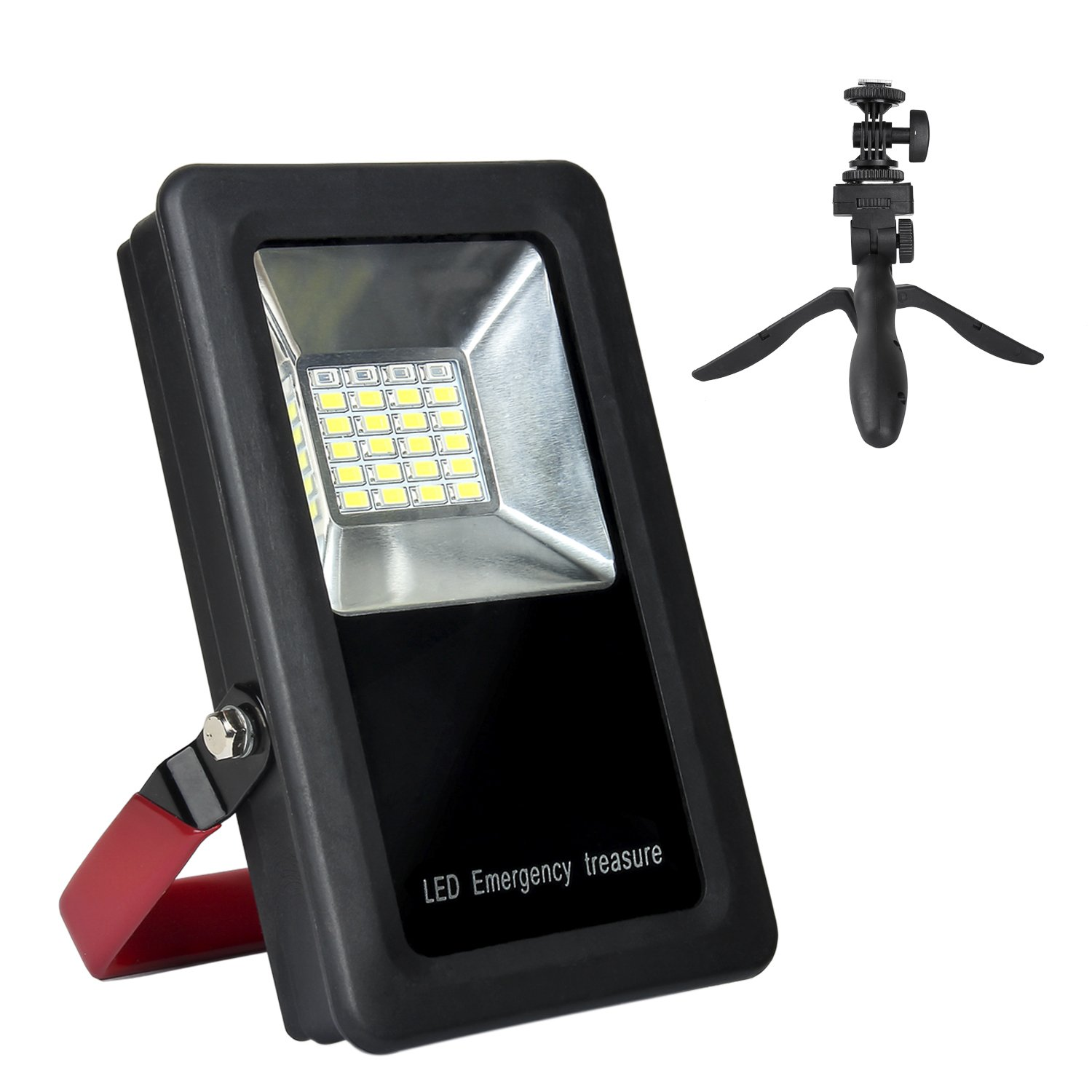 TBTeek LED Work Light 15 W 24 LED 2 USB Ports Cordless Rechargeable LED Flood Light, With Folding Tripod,Battery - Powered Flashlight, Portable & Outdoor & Built-in 6600mah Power Bank