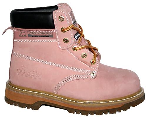 SK21 Botas de seguridad para mujer, con cordones, puntera de acero, color rosa