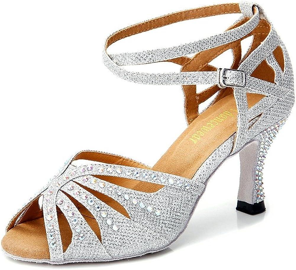 TTdancewear Women Rhinestone Ballroom Dance Shoes Pe Max 78% Lowest price challenge OFF Latin Salsa